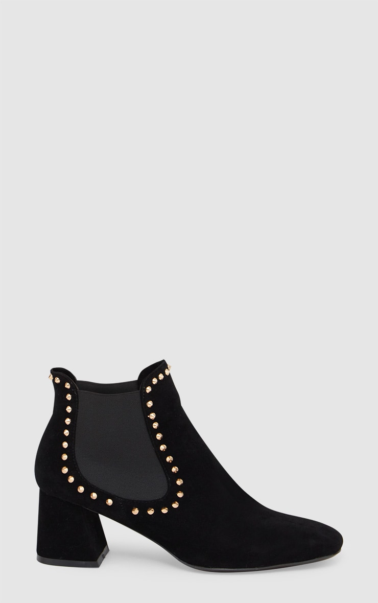 Black Studded Block Heeled Ankle Boots 3