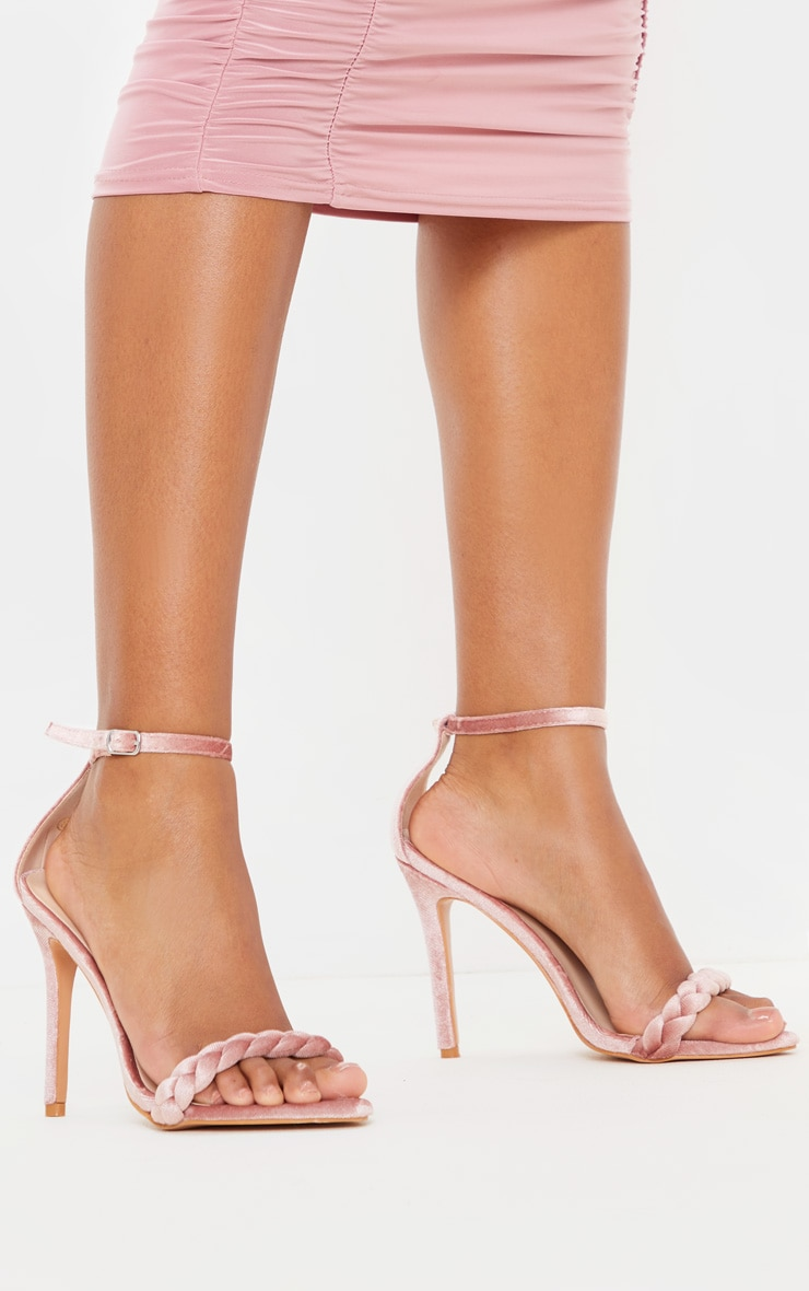 Blush Velvet Plaited Strap Point Toe Heeled Sandal 2
