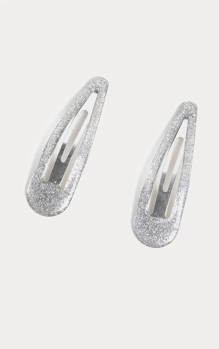 Silver Glitter Two Pack Hair Clips 2