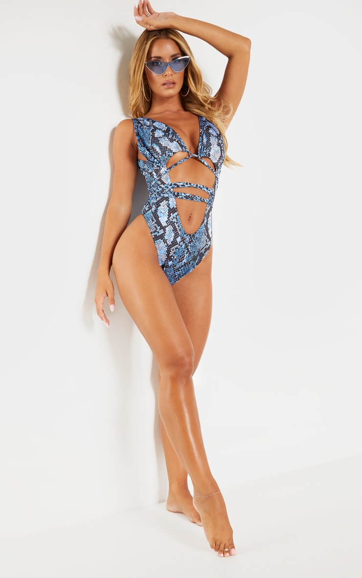 Blue Snake Cut Out Wrap Around Swimsuit 4