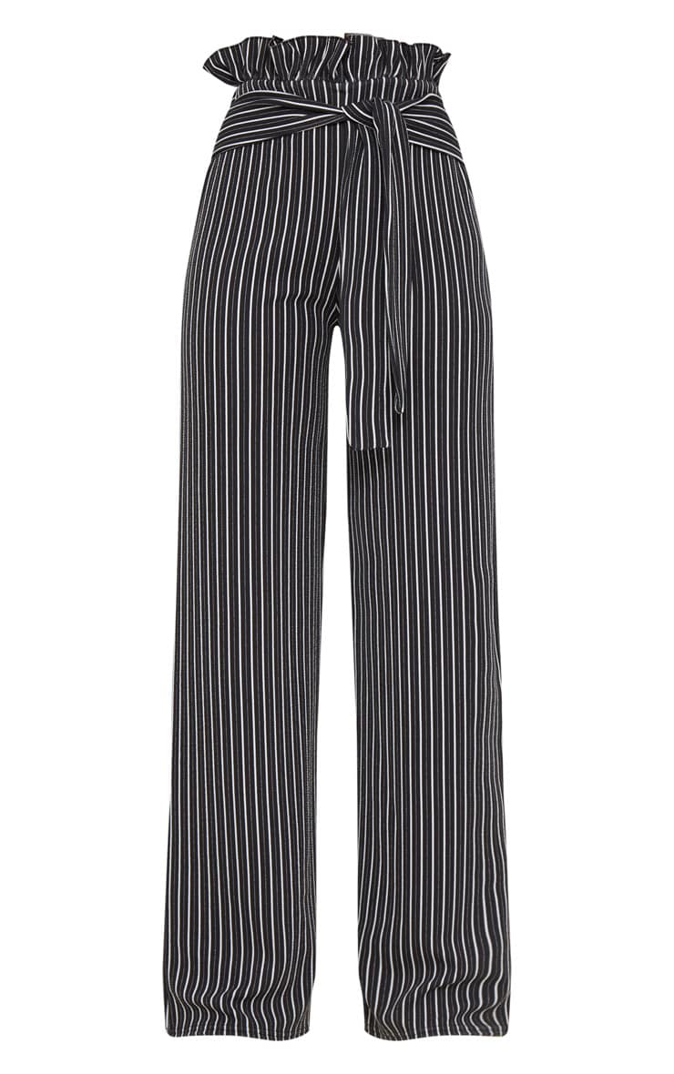 Black Stripe Wide Leg Paperbag Trousers 3