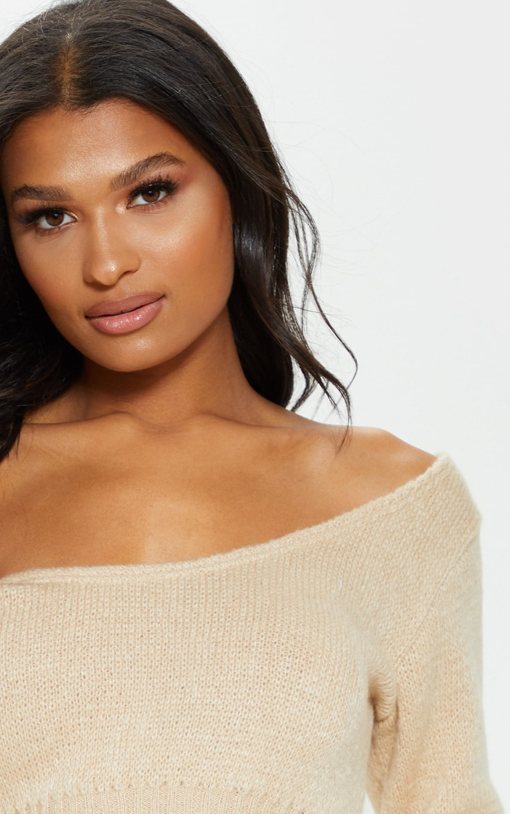 Stone V Neck Off Shoulder Soft Knitted Crop Jumper 5