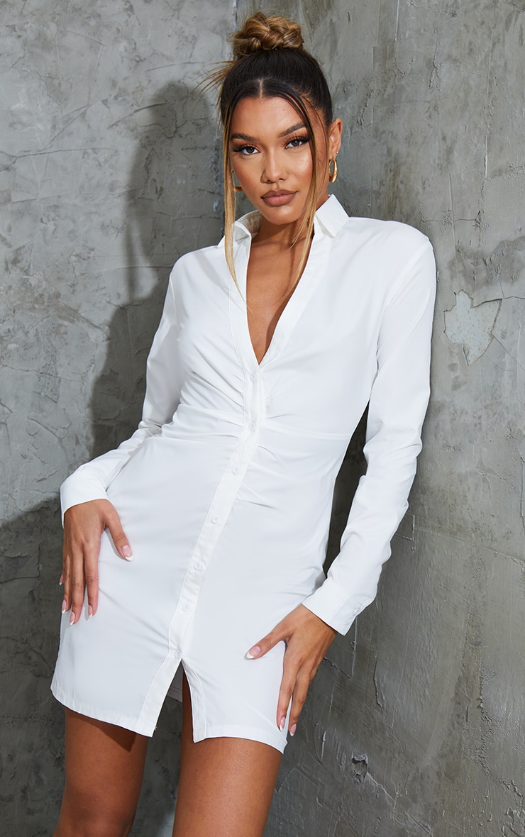 White Ruched Waist Detail Plunge Shirt Dress 1