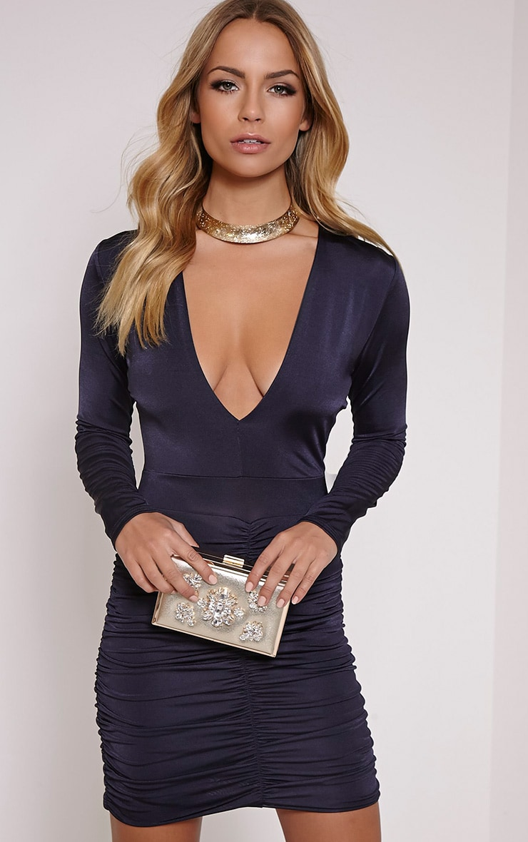 Alana Navy Plunge Ruched Bodycon Dress 1