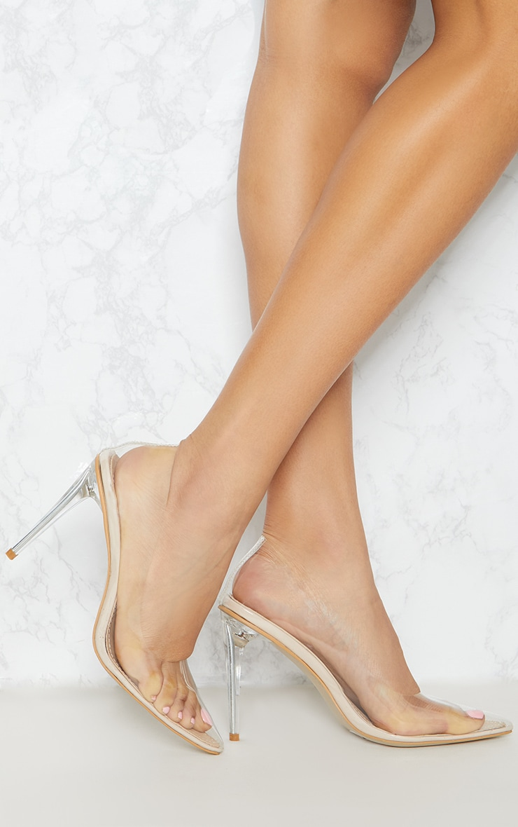 Clear Heeled Court Shoe