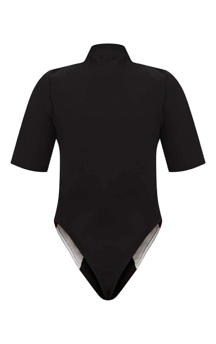 Black Motocross Ring Detail Thong Bodysuit  4