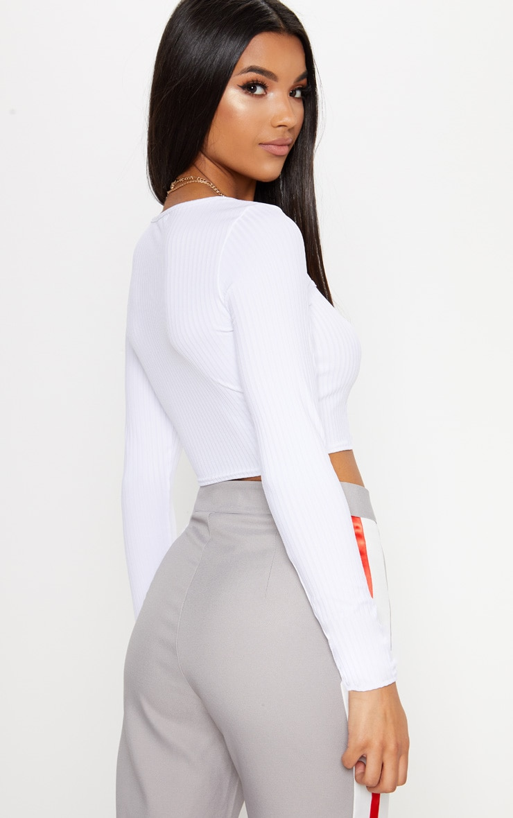 White Rib Square Neck Long Sleeve Crop Top 2