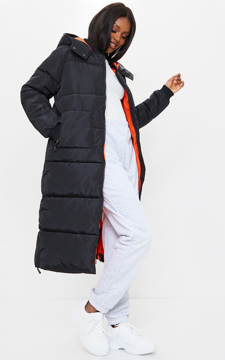 Tall Black Maxi Contrast Hooded Puffer Jacket 3