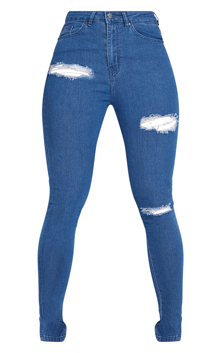 Shape Mid Blue Wash Ripped Stretch Split Hem Skinny Jeans 5