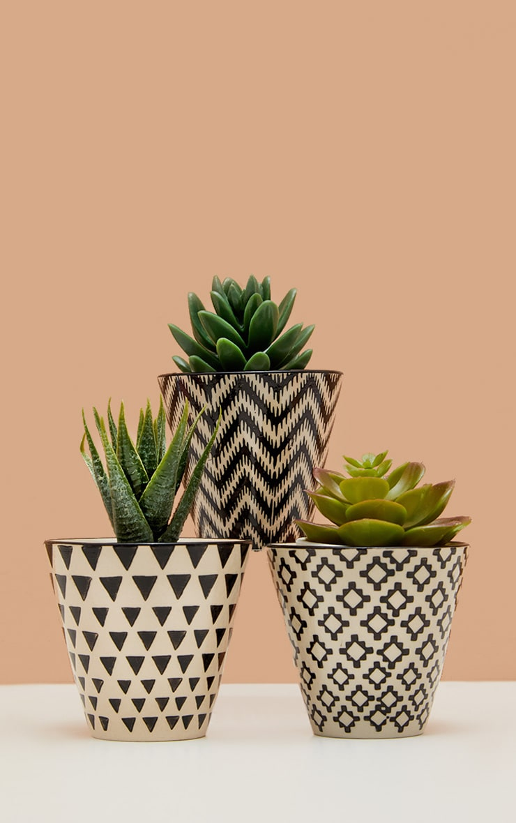 Sass And Belle Set Of 3 Black Geo Mini Planters