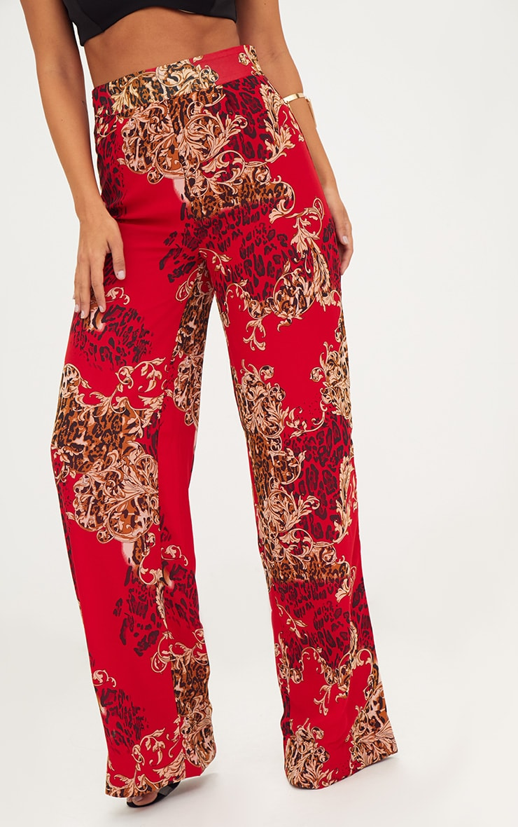Red Chain Print Wide Leg Trousers 5