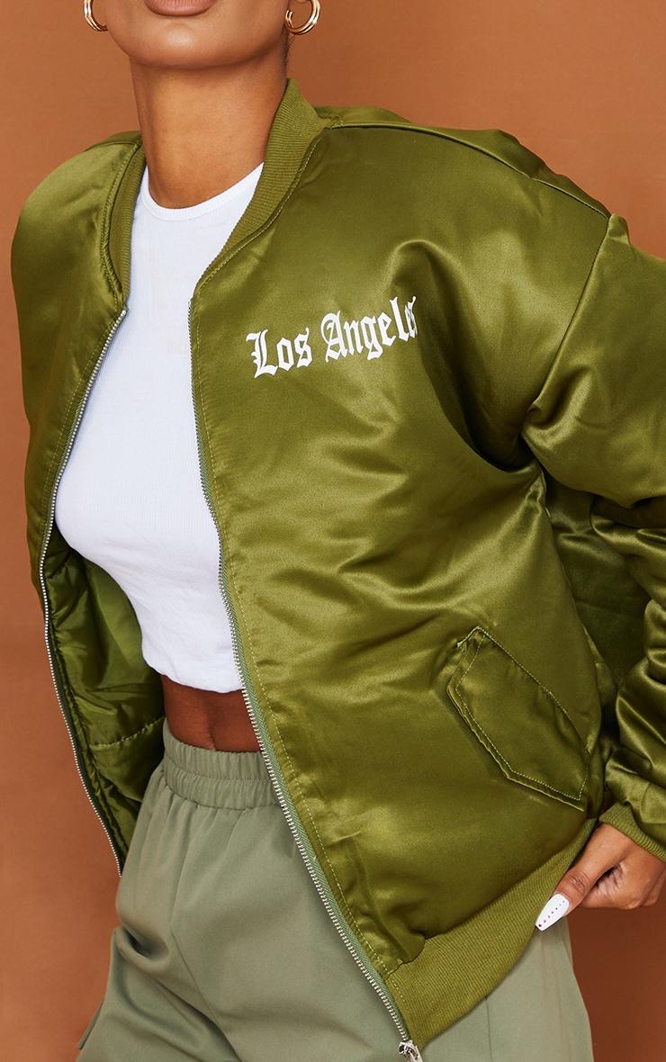 Khaki Satin Los Angeles Graphic Oversized Padded Bomber 4