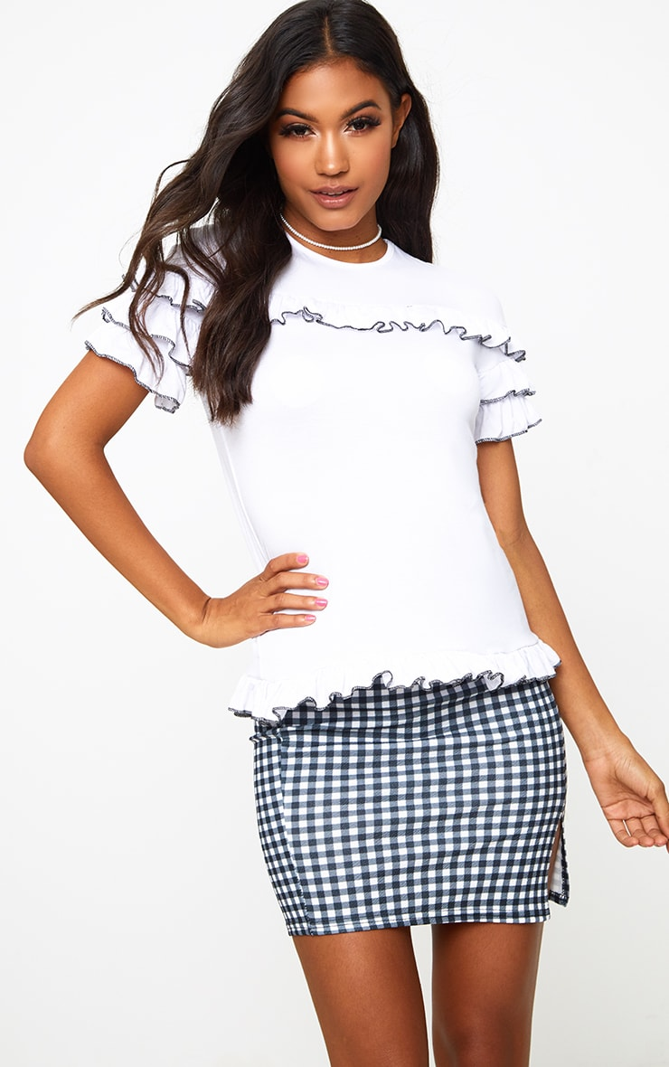 White Frill Contrast Edge T Shirt 1