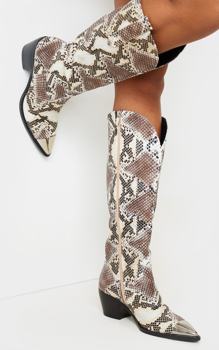 Snake Metal Toe Calf Western Boots 1