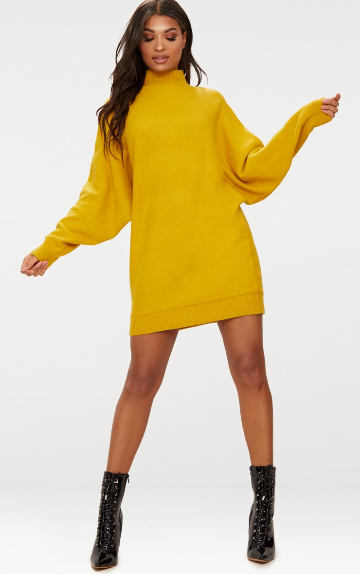 Mustard Oversized Jumper Dress 1