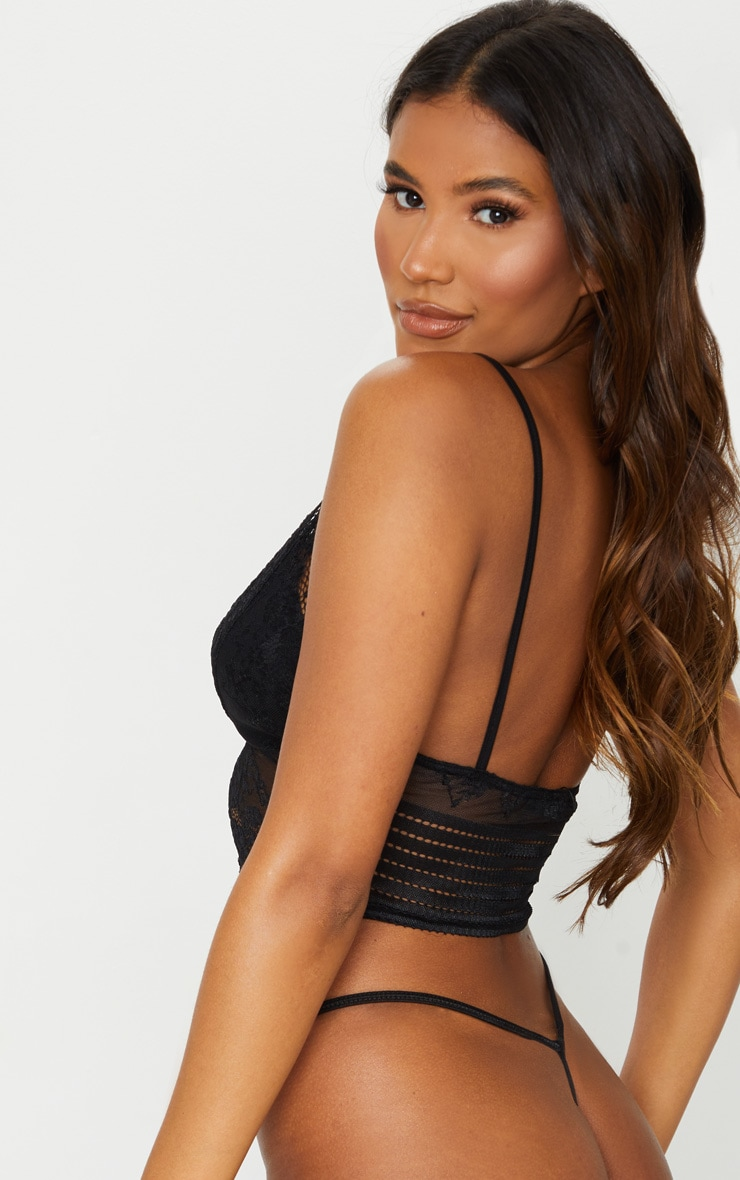 Black Lace Triangle Longline Bralet 2