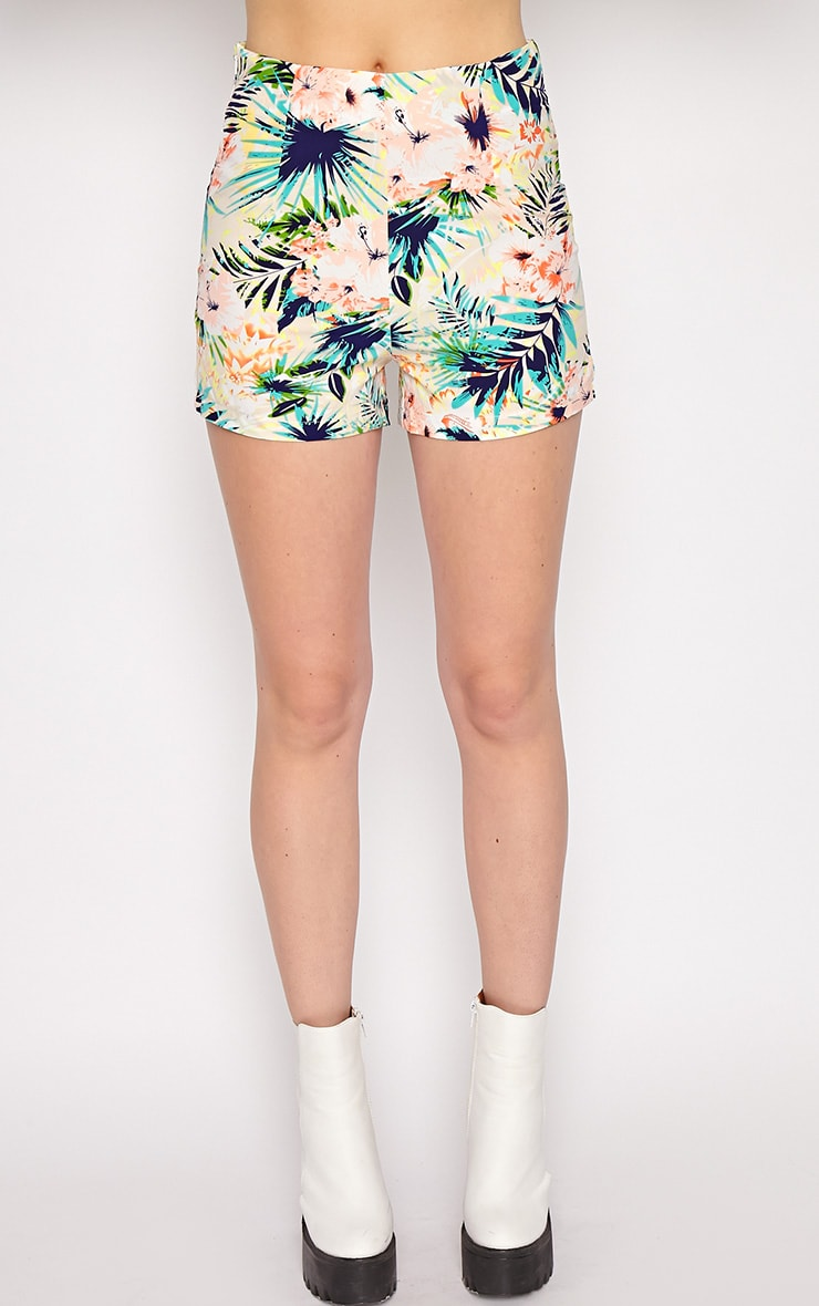 Tropical Print High Waist Shorts 4