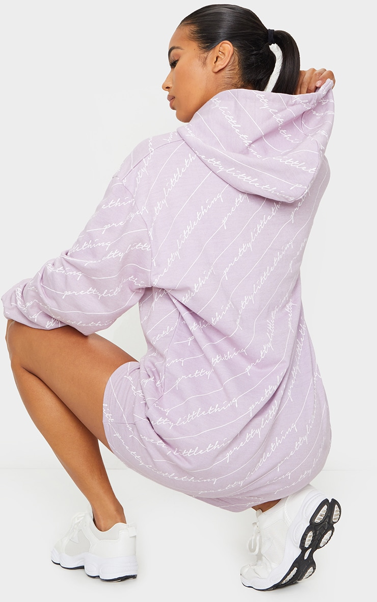 PRETTYLITTLETHING Lilac Slogan Hoodie Dress 2