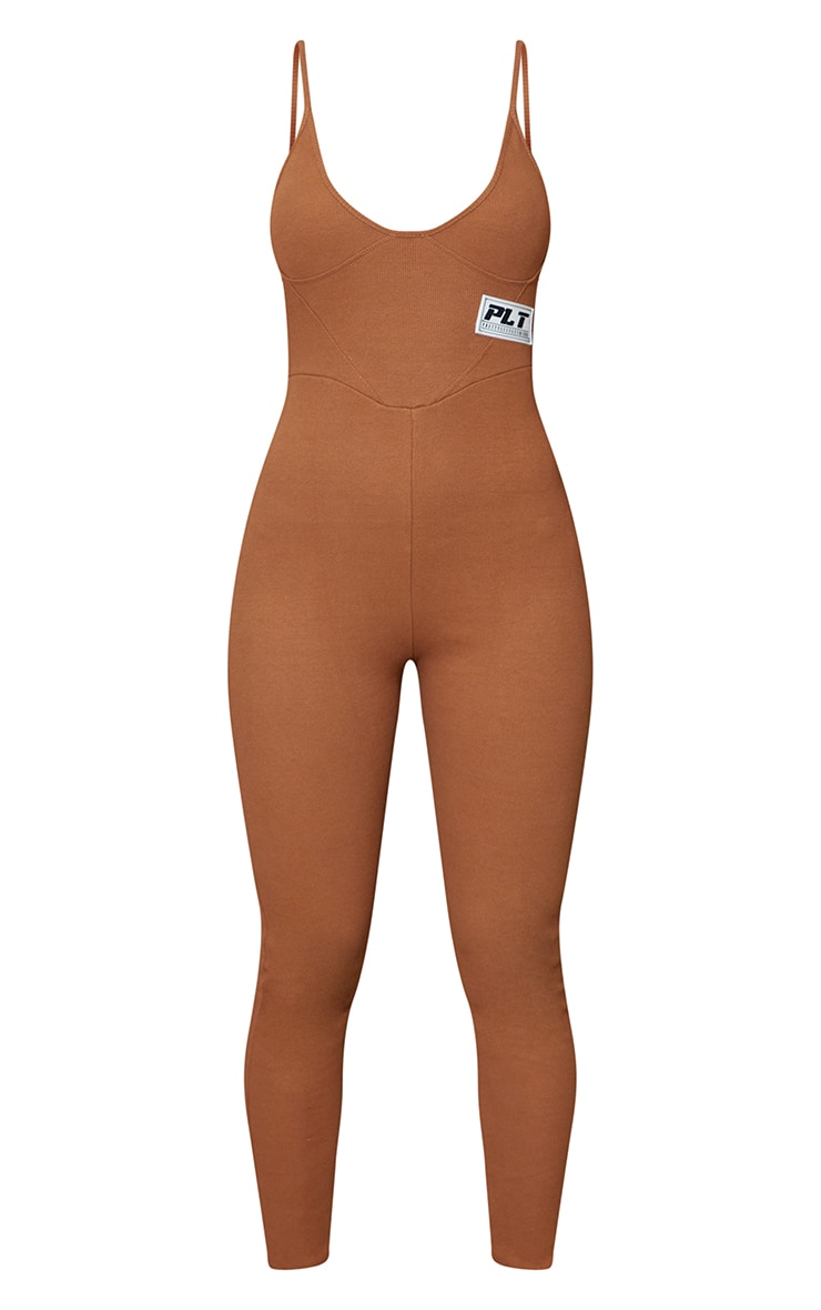 PRETTYLITTLETHING Chocolate Strappy Thick Rib Binding Jumpsuit 5