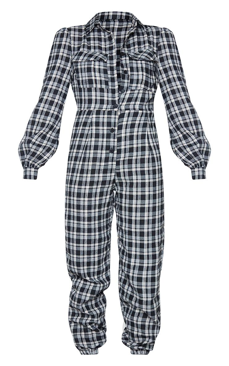 Black Check Pocket Detail Shirt Jumpsuit 5