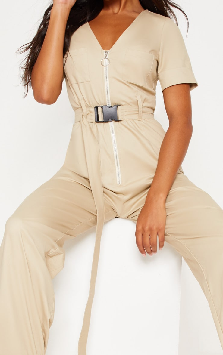 Stone Cargo Zip Up Jumpsuit 6