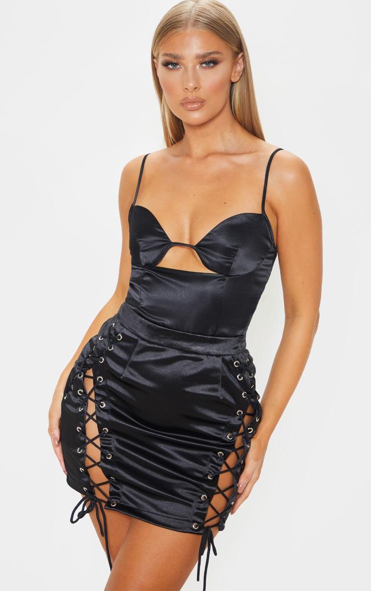 Black Satin Underwire Cupped Bodysuit 1