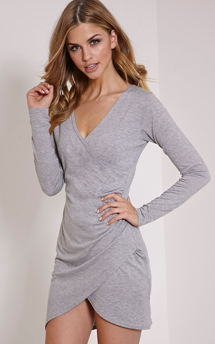 Kendi Marl Grey Wrap Mini Dress 1