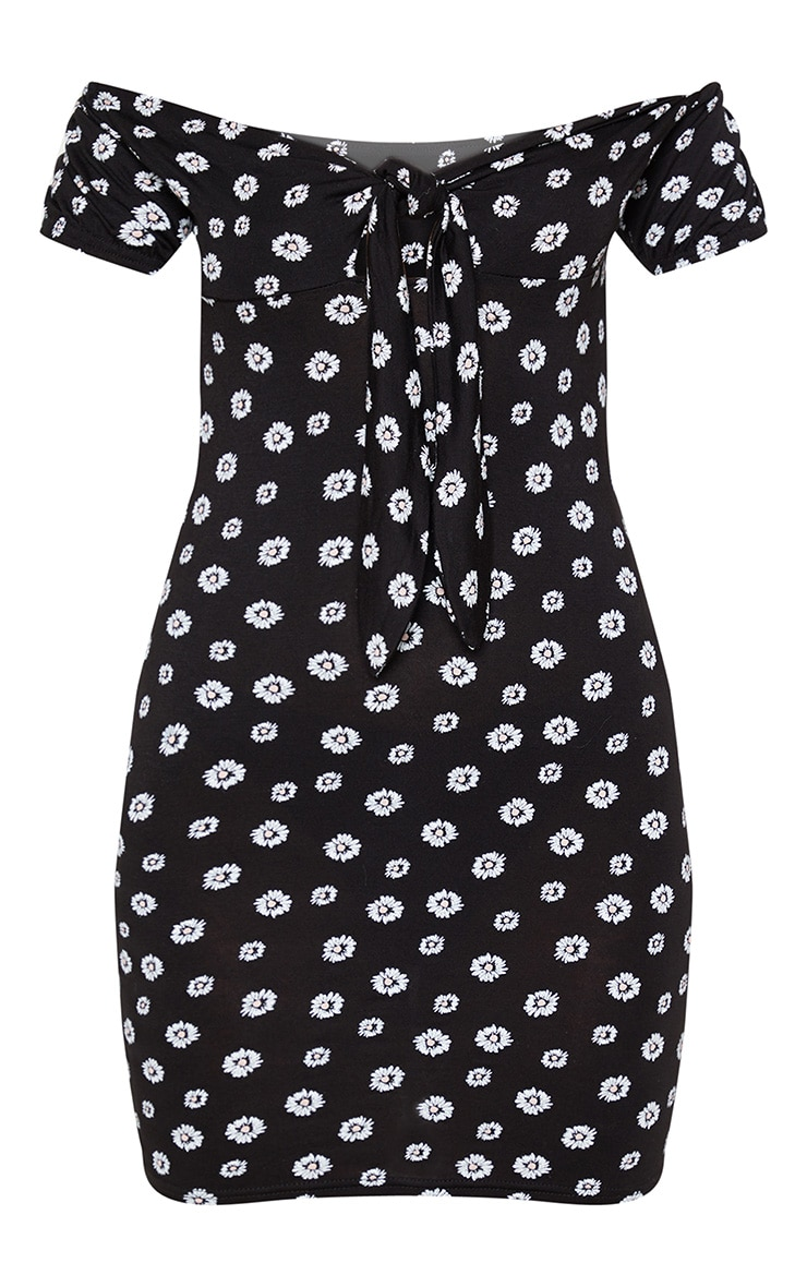 Black Ditsy Floral Print Tie Bust Bardot Bodycon Dress 3