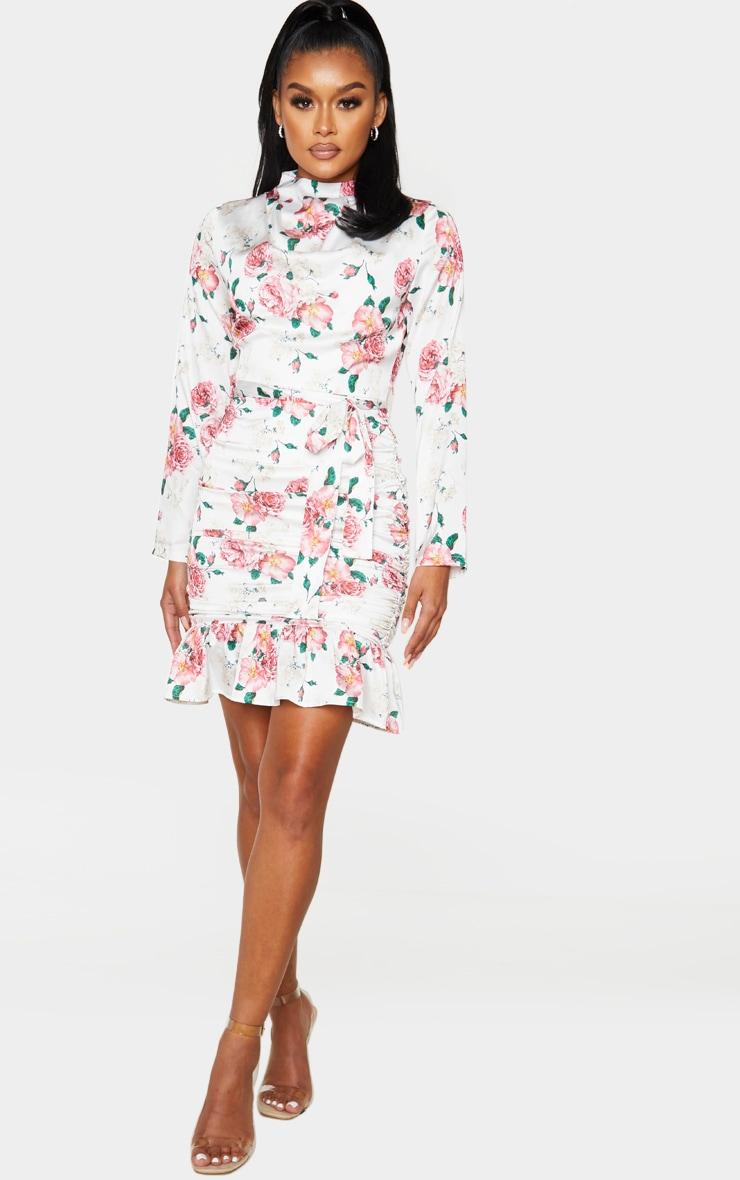White Floral Print Satin Ruched Skirt Frill Hem Bodycon Dress 1