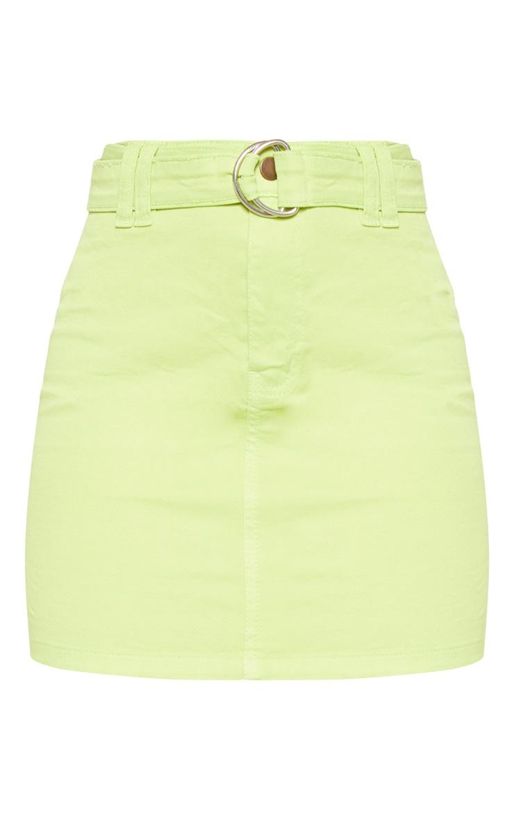Jupe en jean vert citron à ceinture à anneau 3