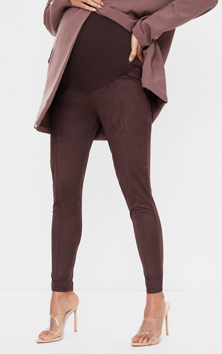 Maternity Chocolate Over Bump Faux Suede Leggings 2