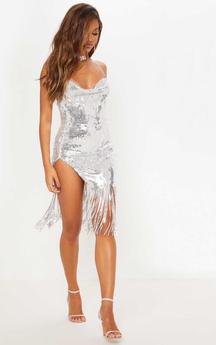 Silver Sequin Cowl Neck Tassel Hem Midi Dress 6