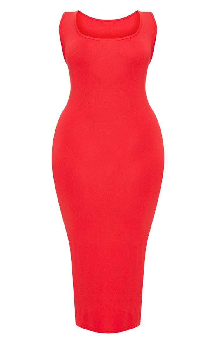 Plus Red Basic Jersey Midi Dress 3