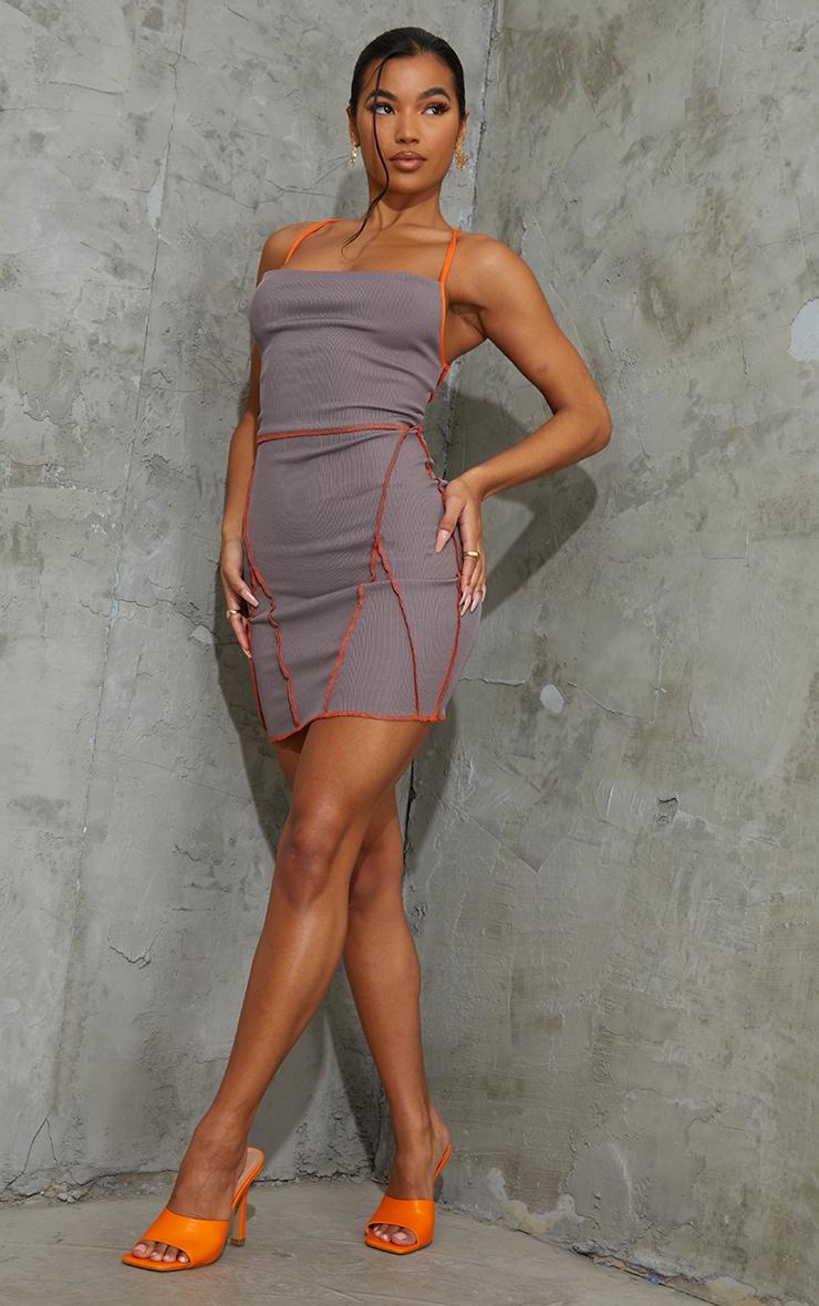 Charcoal Overlock Stitch Lace Up Back Bodycon Dress 3