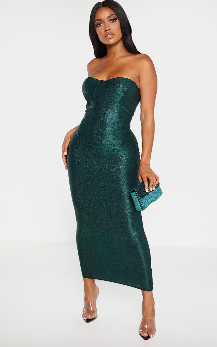Shape Emerald Glitter Cup Detail Bandeau Midaxi Dress 1
