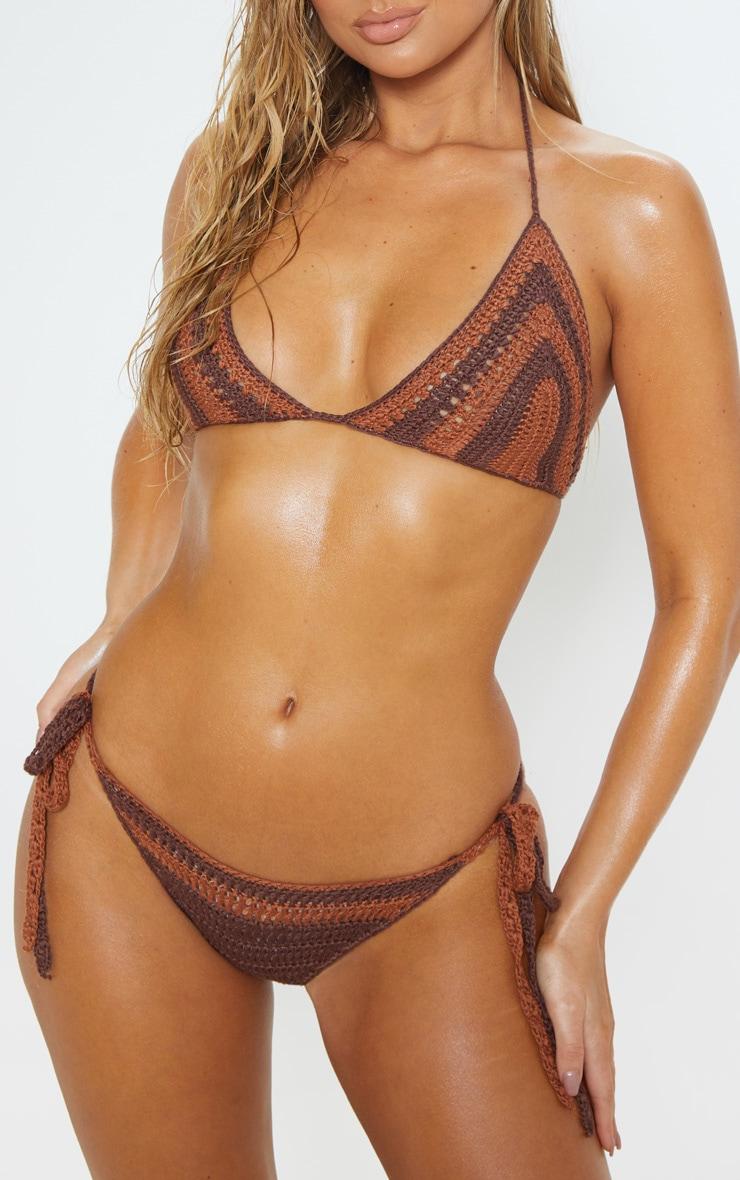 Chocolate Crochet Bikini Bottoms  1