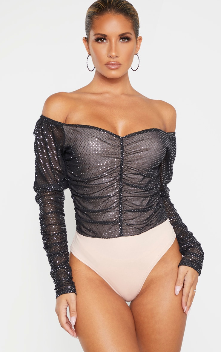 Black Sequin Ruched Bardot Long Sleeve Bodysuit 2