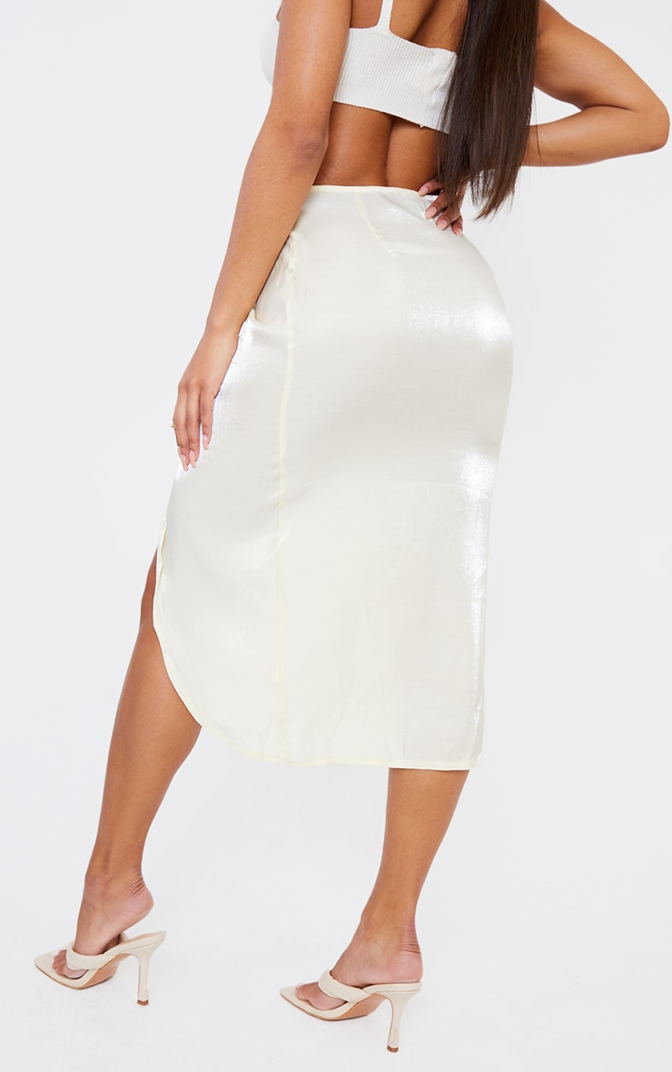 Cream Satin Shimmer Twist Front Midi Skirt 3