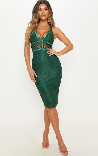 4cc6bbce8fb331 Emerald Green Plunge Lace Open Back Midi Dress