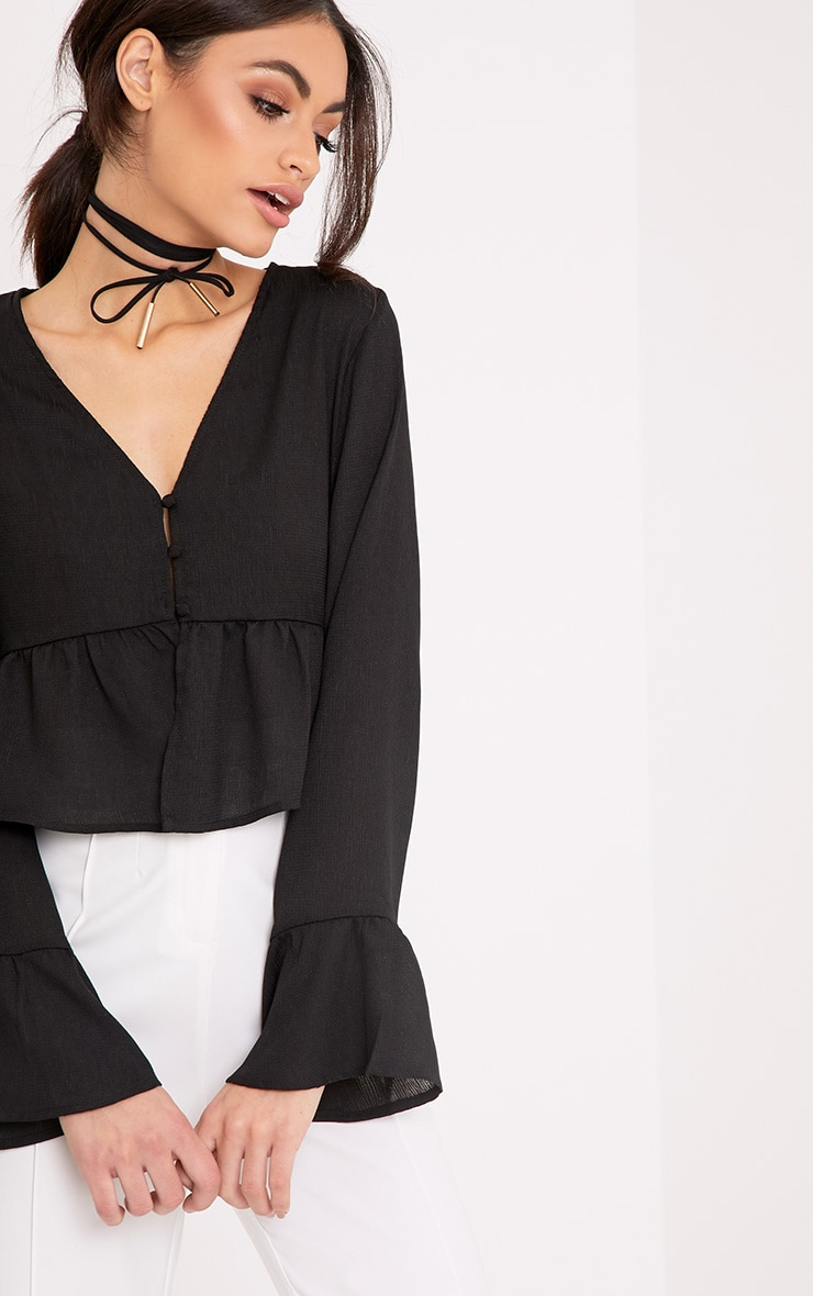 Lynn Black Woven Frill Button Crop Blouse 1