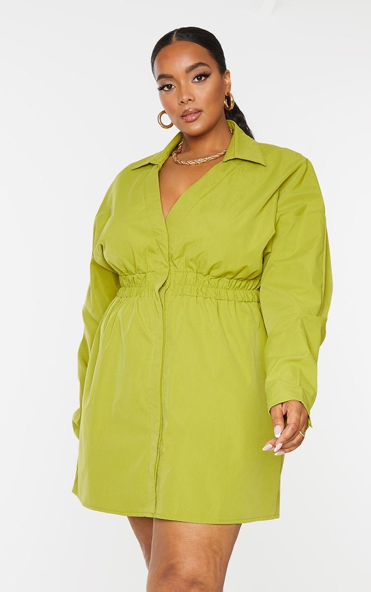 Plus Olive Oversized Ruched Waist Shirt Dress 3