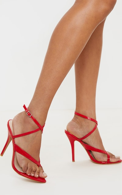 Red Patent Low Heel Toe Thong Ankle Strap Sandal