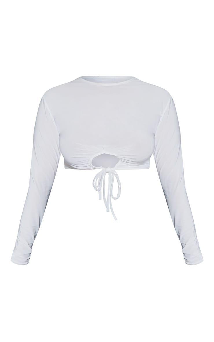 Plus Cream Cut Out Tie Detail Long Sleeve Crop Top 5