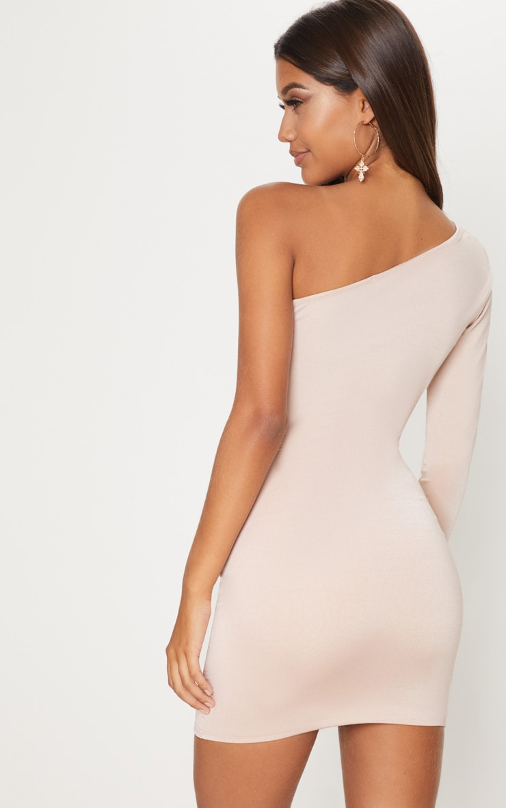 Nude Slinky One Shoulder Ruched Cut Out Bodycon Dress 2