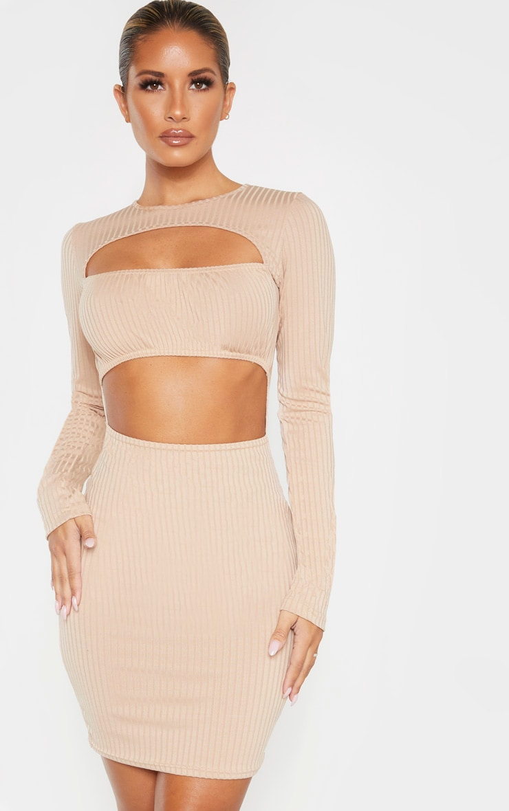 Stone Ribbed Long Sleeve Ruched Bust Bodycon Dress 1