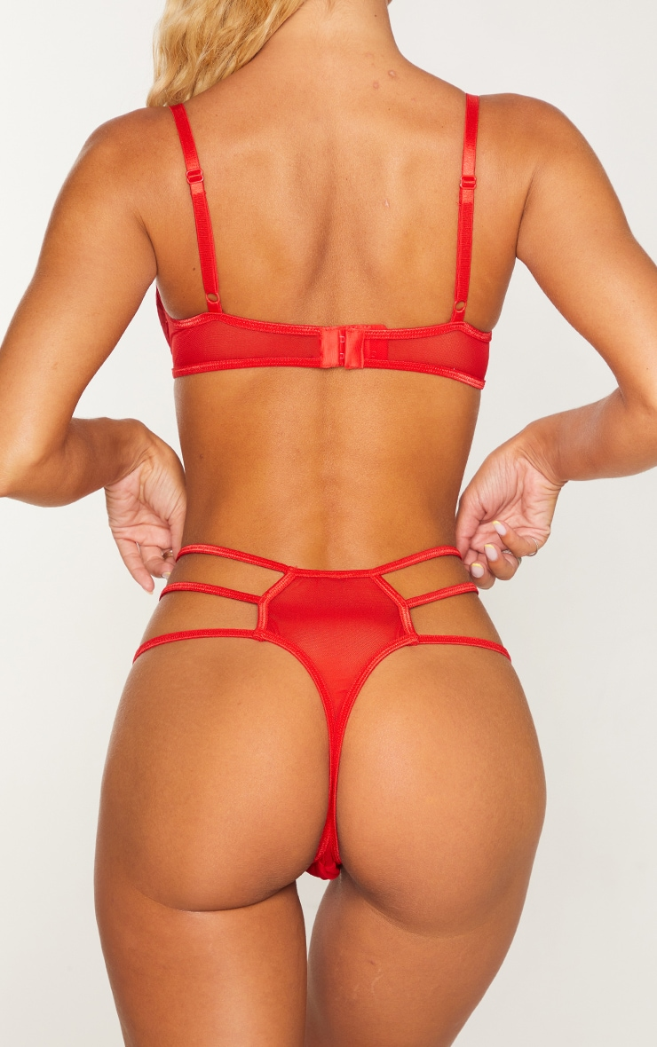 Red  Strappy Embroidered Mesh Thong 2