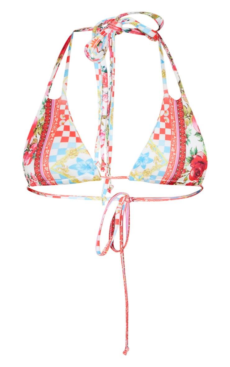 Haut de bikini triangle rouge imprimé floral 3