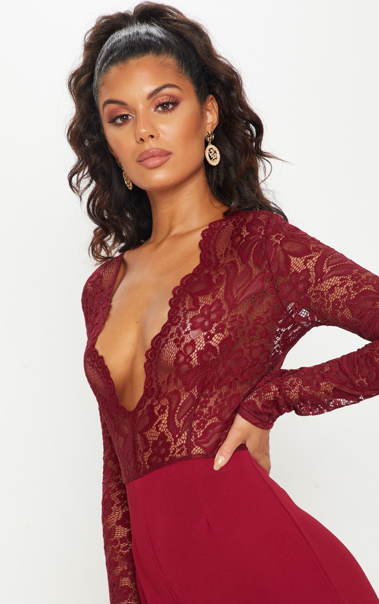 Burgundy Lace Long Sleeve Plunge Jumpsuit 5