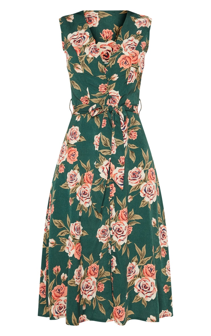 Emerald Green Floral Button Detail Midi Skater Dress 3