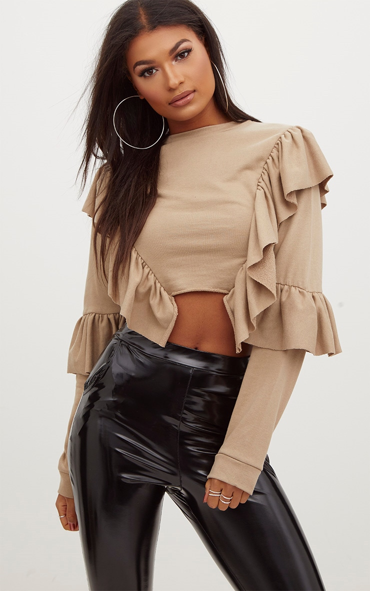 Taupe Ruffle Frill Crop Sweater 1